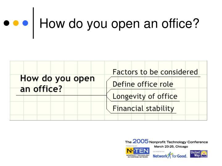 How do you open an office?