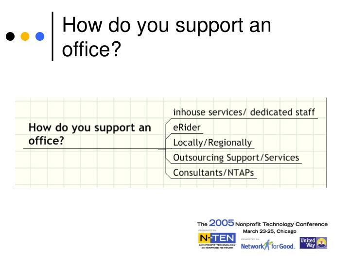 How do you support an office?