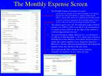 the monthly expense screen