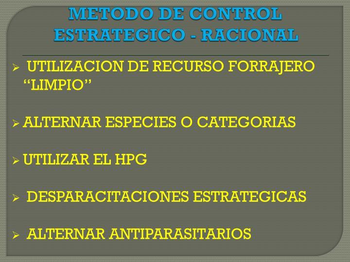 METODO DE CONTROL ESTRATEGICO - RACIONAL