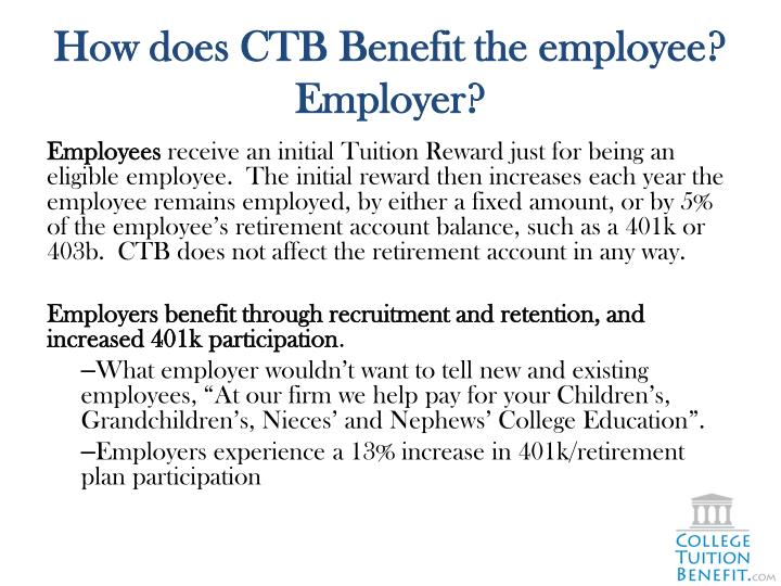 How does CTB Benefit the employee?  Employer?