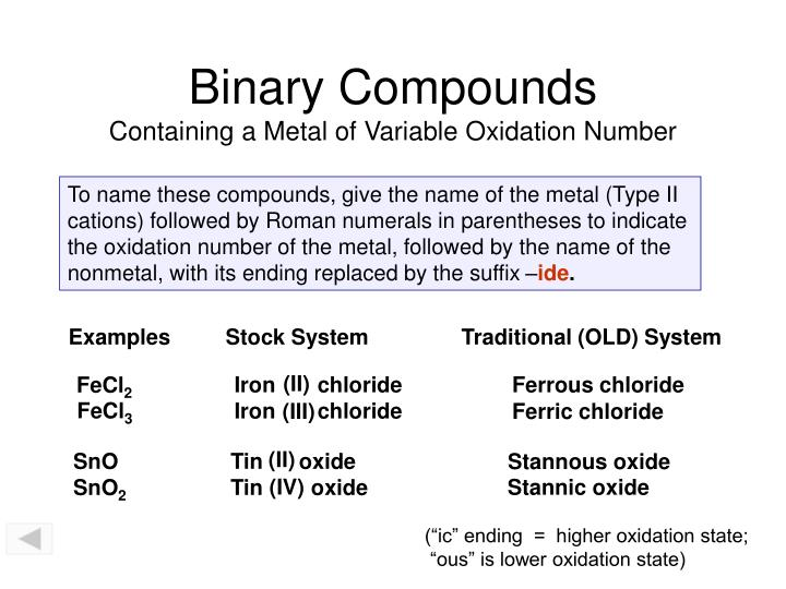 binary compounds containing a metal of variable oxidation number n.