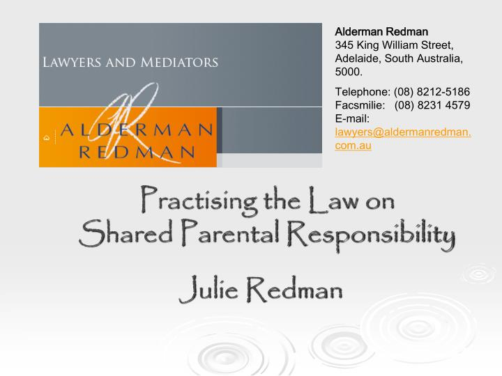Practising the law on shared parental responsibility