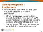 adding programs limitations