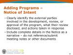 adding programs notice of intent3