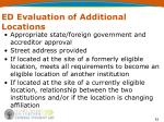 ed evaluation of additional locations
