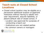 teach outs at closed school locations1