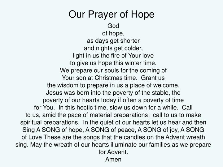 Our prayer of hope
