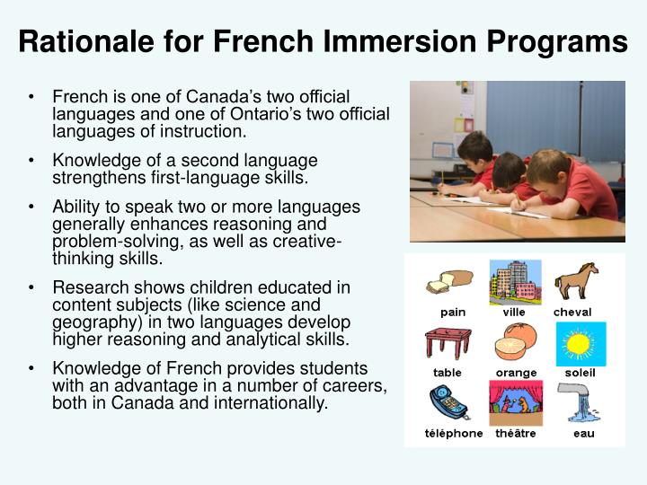 Rationale for French Immersion Programs