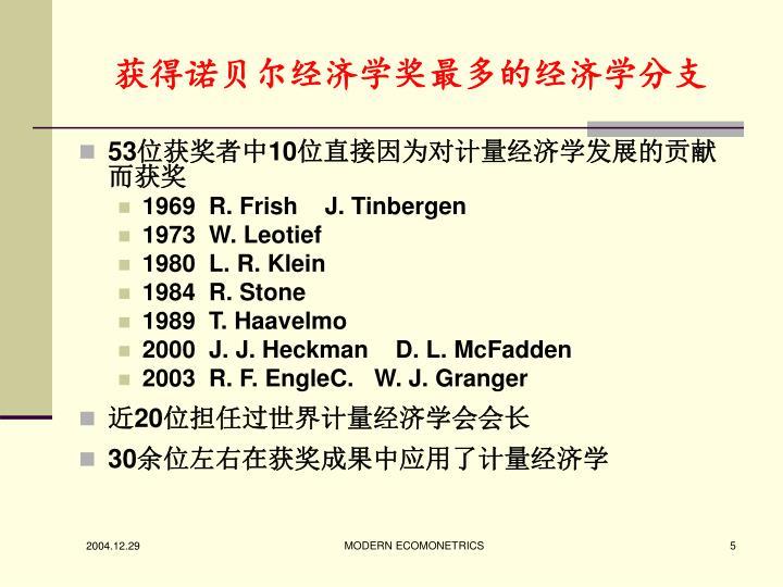 获得诺贝尔经济学奖最多的经济学分支