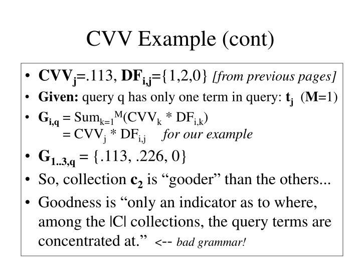 CVV Example (cont)