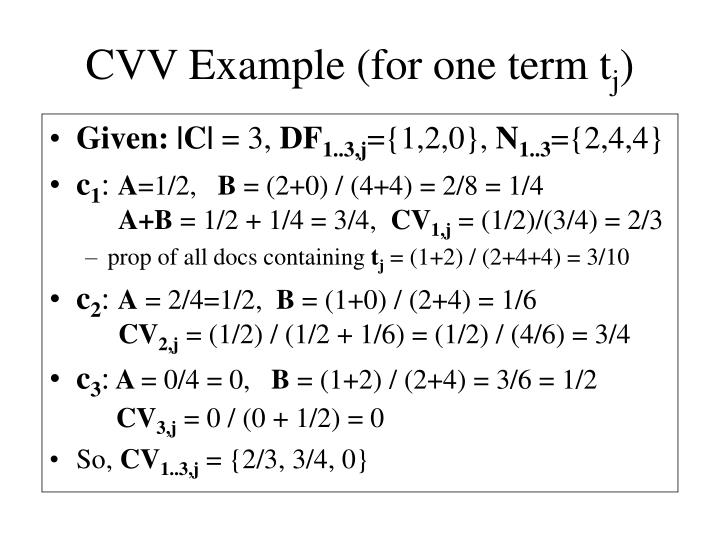 Cvv example for one term t j
