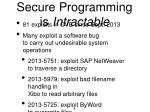 secure programming is intractable