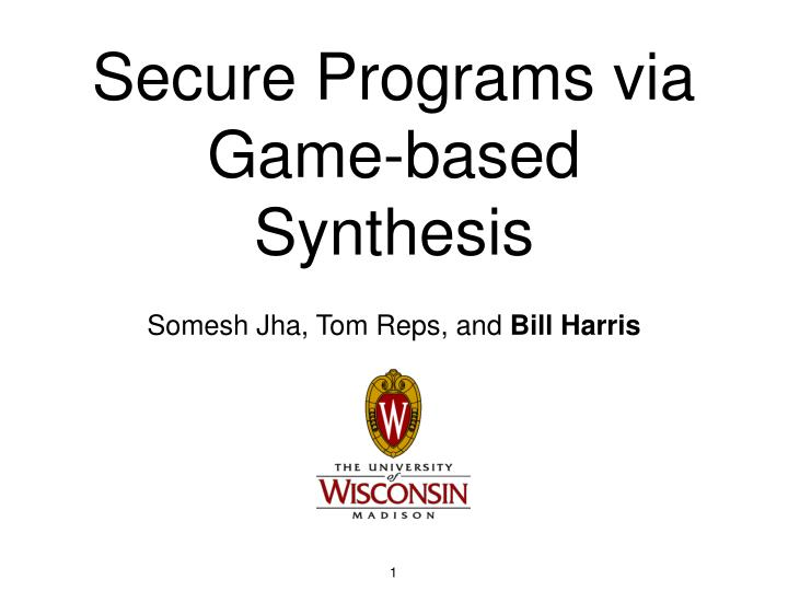 secure programs via game based synthesis