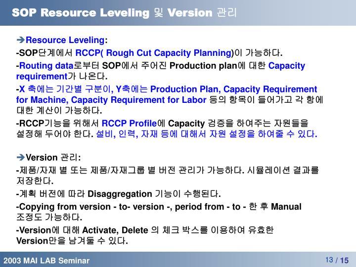 SOP Resource Leveling