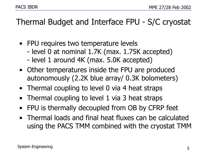 Thermal Budget and Interface FPU - S/C cryostat