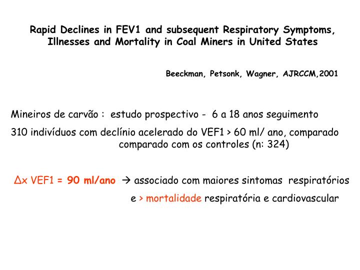 Rapid Declines in FEV1 and subsequent Respiratory Symptoms, Illnesses and Mortality in Coal Miners in United States