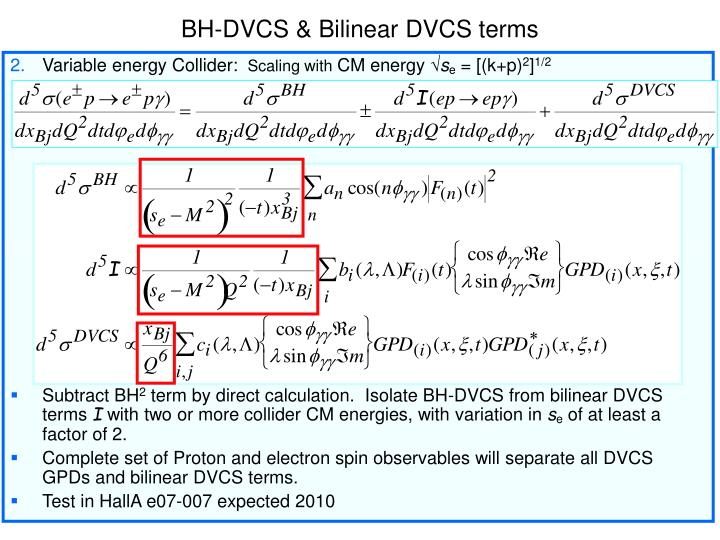 BH-DVCS & Bilinear DVCS terms