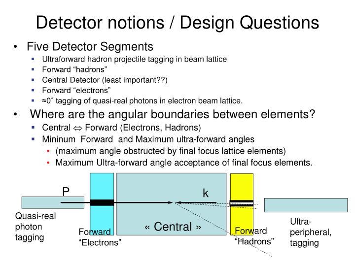 Detector notions / Design Questions