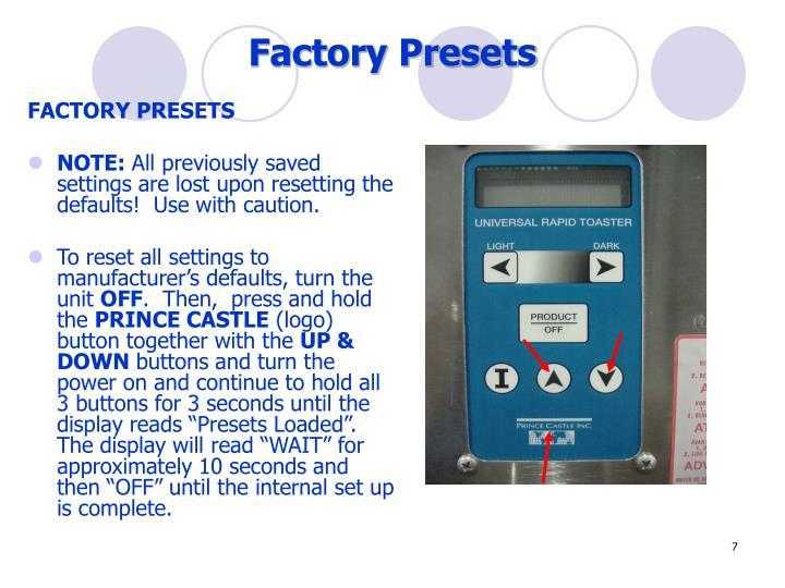 Factory Presets