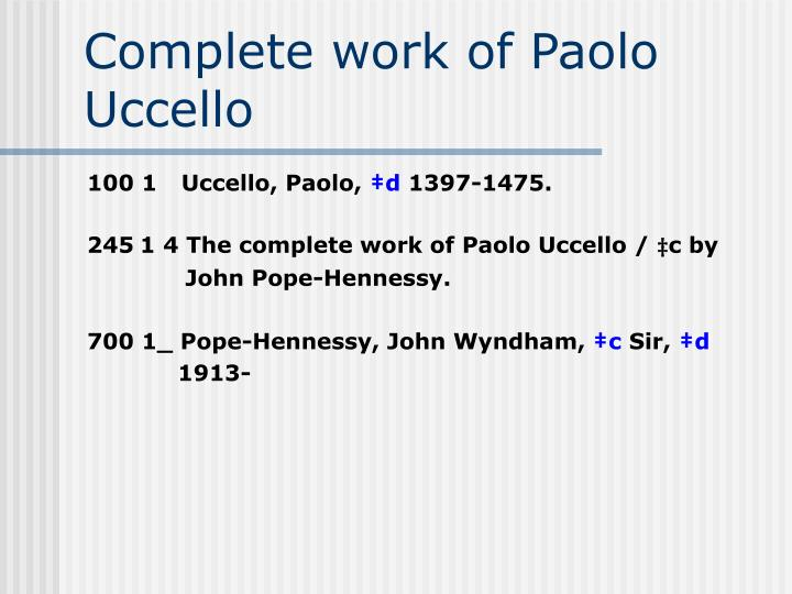 Complete work of Paolo Uccello