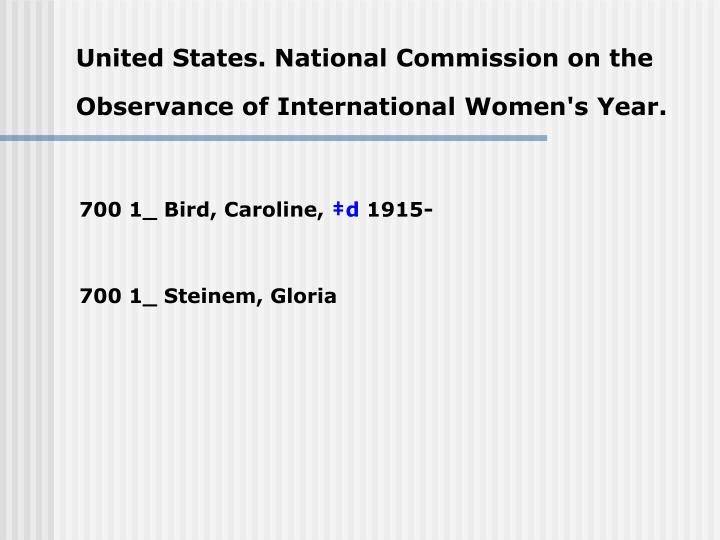 United states national commission on the observance of international women s year