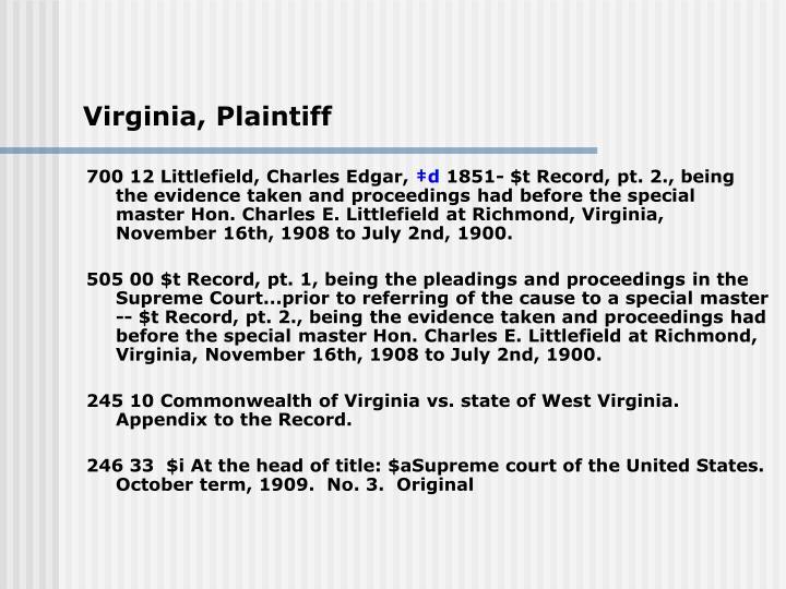 Virginia, Plaintiff