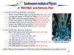 4 tbs r d and delivery plan