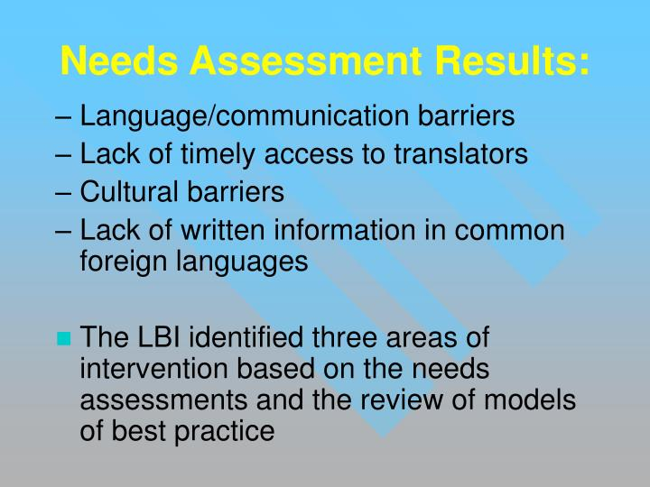 Needs Assessment Results: