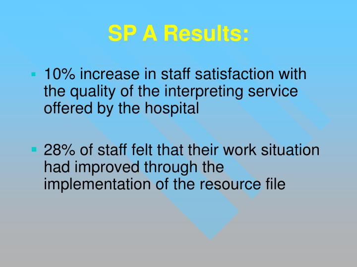 SP A Results: