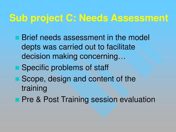 Sub project C: Needs Assessment