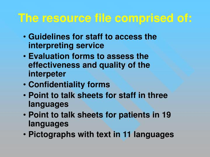 The resource file comprised of: