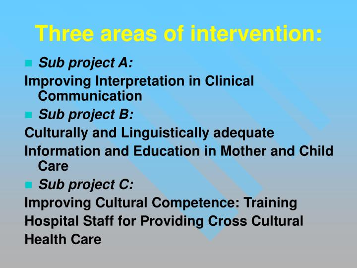 Three areas of intervention: