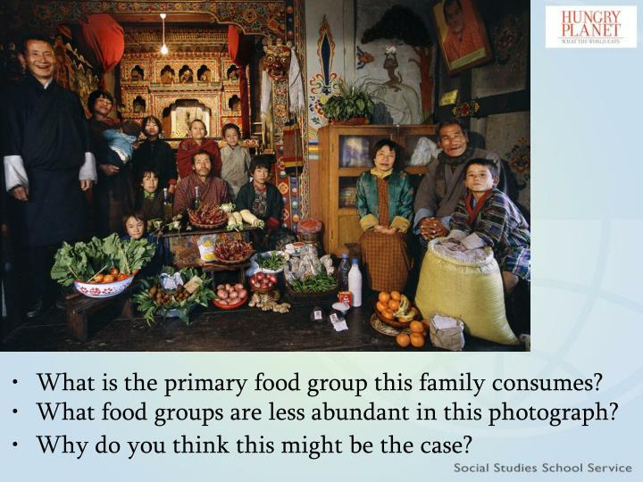 What is the primary food group this family consumes?