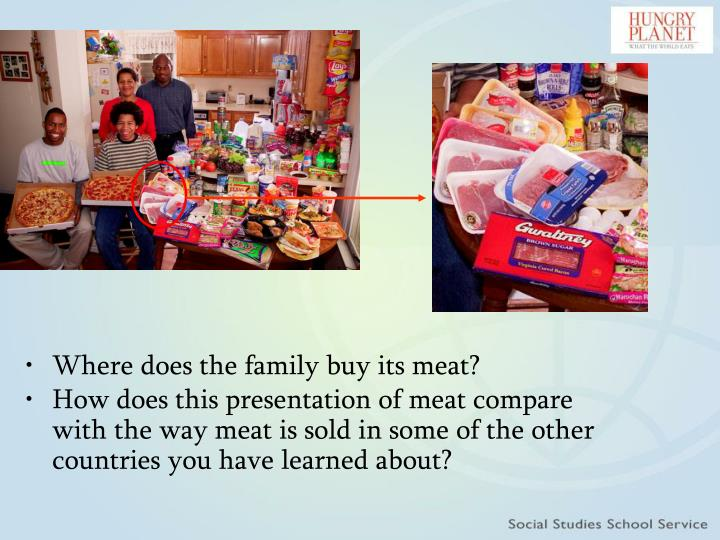 Where does the family buy its meat?