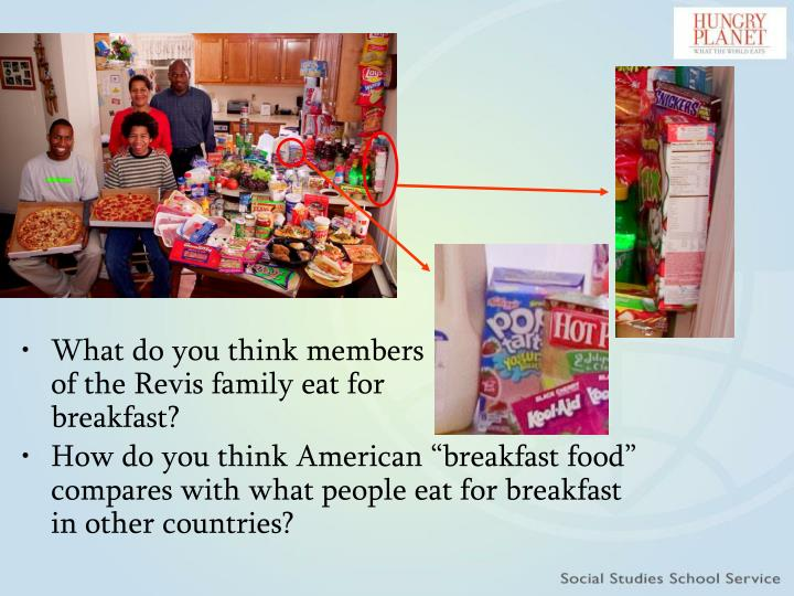 What do you think members of the Revis family eat for breakfast?