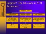 surprise the lab alone is not the answer