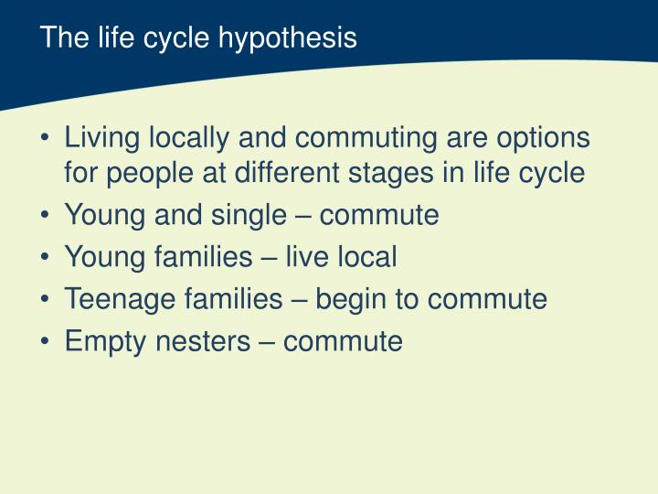 The life cycle hypothesis