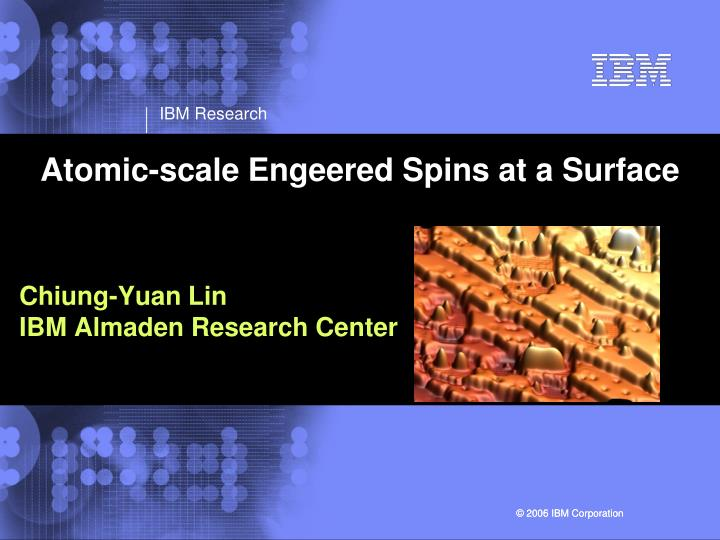atomic scale engeered spins at a surface n.