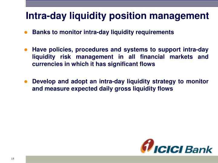 Intra-day liquidity position management