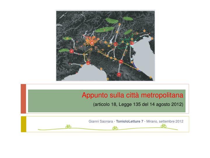 appunto sulla citt metropolitana articolo 18 legge 135 del 14 agosto 2012 n.