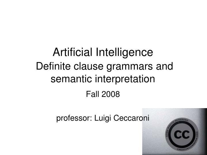 artificial intelligence definite clause grammars and semantic interpretation n.