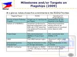 milestones and or targets on flagships 2009