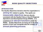 rodg quality objectives1