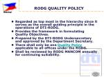 rodg quality policy