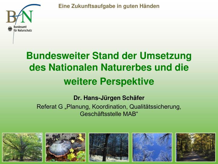 Bundesweiter stand der umsetzung des nationalen naturerbes und die weitere perspektive