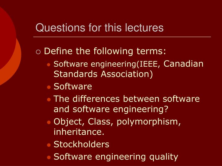 Questions for this lectures