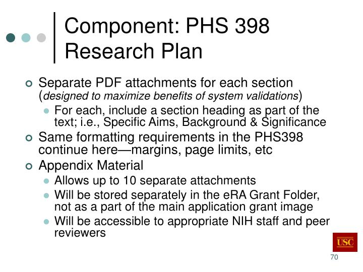 Component: PHS 398 Research Plan