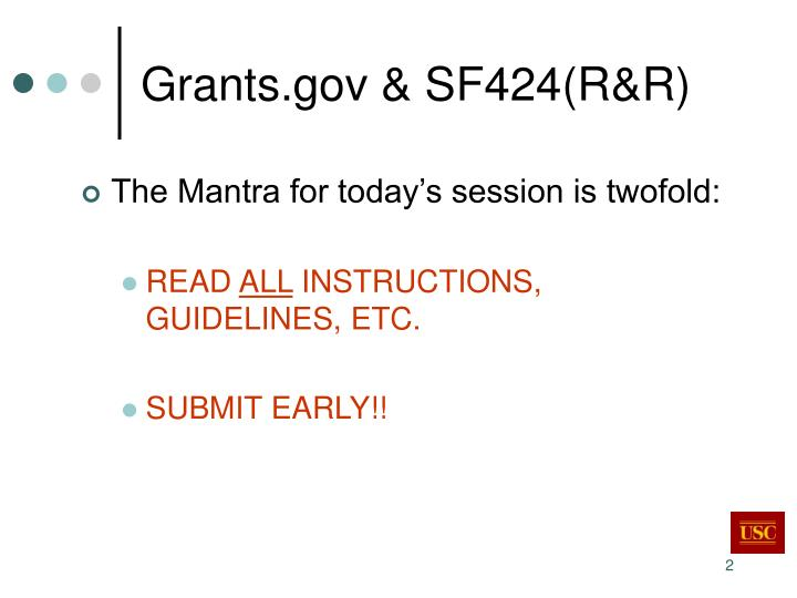 Grants gov sf424 r r