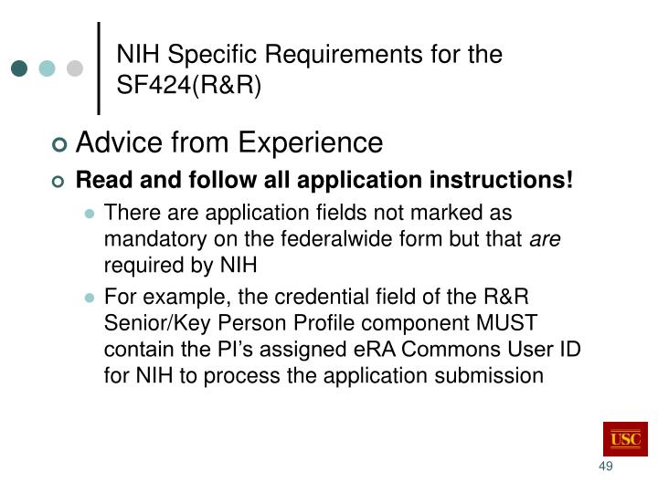 NIH Specific Requirements for the SF424(R&R)
